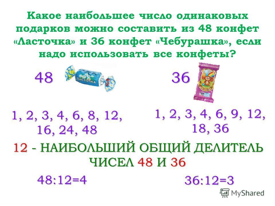 Какое наибольшее число одинаковых подарков можно составить из 48 конфет «Ласточка» и 36 конфет «Чебурашка», если надо использовать все конфеты? 4836 1, 2, 3, 4, 6, 8, 12, 16, 24, 48 1, 2, 3, 4, 6, 9, 12, 18, 36 12 - НАИБОЛЬШИЙ ОБЩИЙ ДЕЛИТЕЛЬ ЧИСЕЛ 48