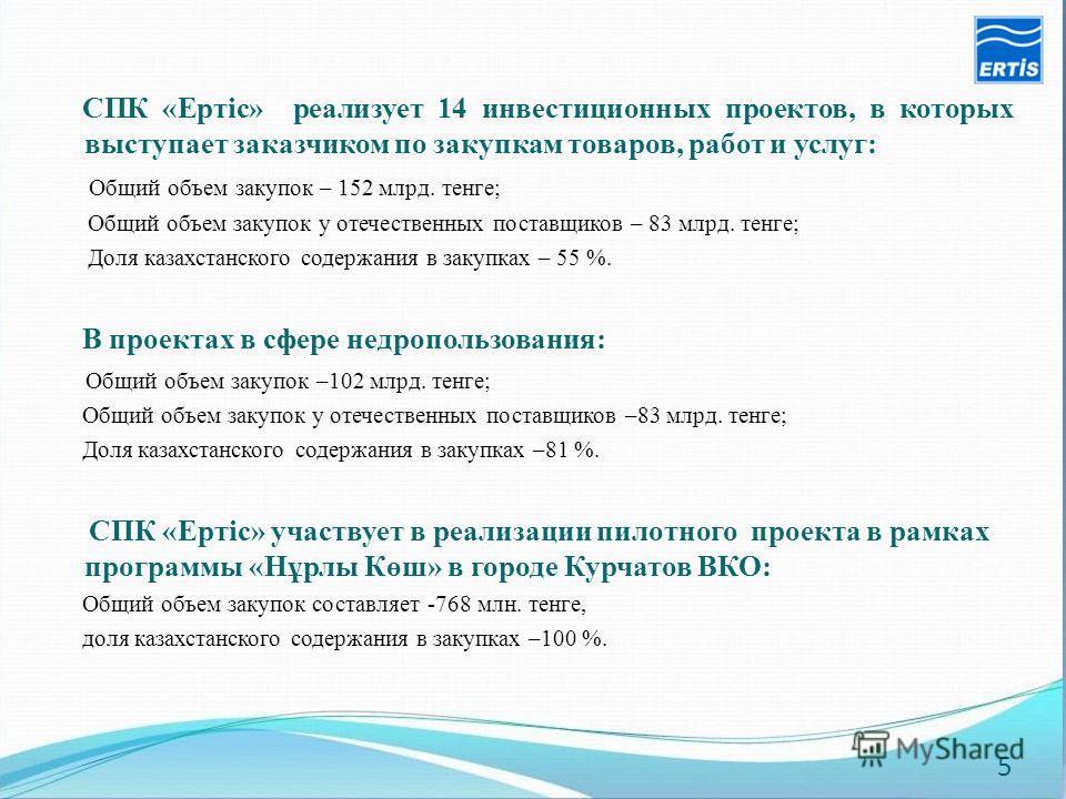 СПК «Ертіс» реализует 14 инвестиционных проектов, в которых выступает заказчиком по закупкам товаров, работ и услуг: Общий объем закупок – 152 млрд. тенге; Общий объем закупок у отечественных поставщиков – 83 млрд. тенге; Доля казахстанского содержан