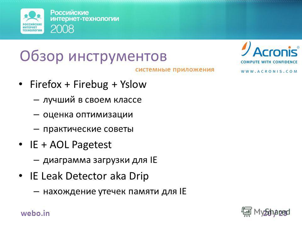 Firefox + Firebug + Yslow – лучший в своем классе – оценка оптимизации – практические советы IE + AOL Pagetest – диаграмма загрузки для IE IE Leak Detector aka Drip – нахождение утечек памяти для IE 20 / 23webo.in Обзор инструментов системные приложе