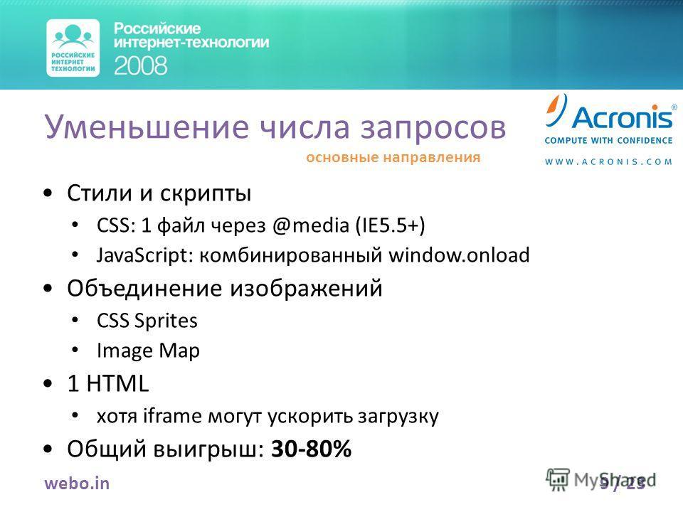 Стили и скрипты CSS: 1 файл через @media (IE5.5+) JavaScript: комбинированный window.onload Объединение изображений CSS Sprites Image Map 1 HTML хотя iframe могут ускорить загрузку Общий выигрыш: 30-80% 9 / 23webo.in Уменьшение числа запросов основны