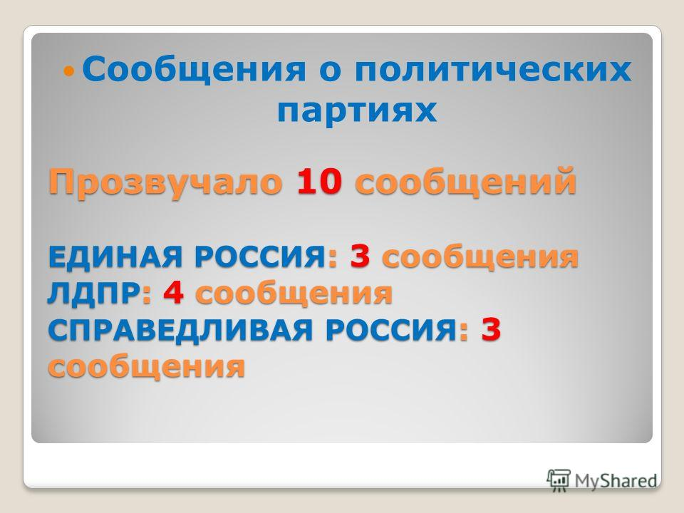 Прозвучало 10 сообщений ЕДИНАЯ РОССИЯ : 3 сообщения ЛДПР : 4 сообщения СПРАВЕДЛИВАЯ РОССИЯ : 3 сообщения Сообщения о политических партиях