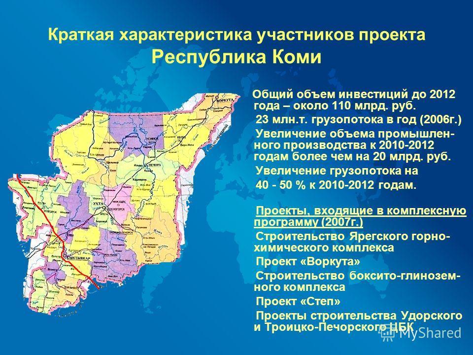 Общий объем инвестиций до 2012 года – около 110 млрд. руб. 23 млн.т. грузопотока в год (2006г.) Увеличение объема промышлен- ного производства к 2010-2012 годам более чем на 20 млрд. руб. Увеличение грузопотока на 40 - 50 % к 2010-2012 годам. Проекты