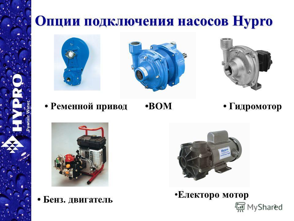 3 Опции подключения насосов Hypro ВОМ Гидромотор Бенз. двигатель Ременной привод Електоро мотор