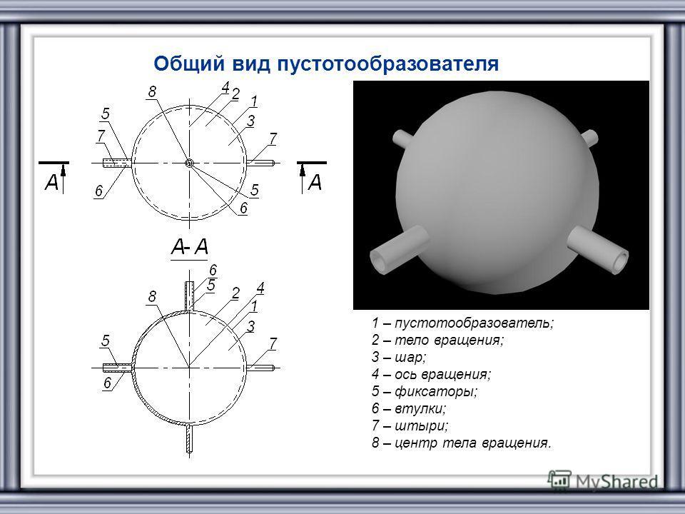 Общий вид пустотообразователя 1 – пустотообразователь; 2 – тело вращения; 3 – шар; 4 – ось вращения; 5 – фиксаторы; 6 – втулки; 7 – штыри; 8 – центр тела вращения.