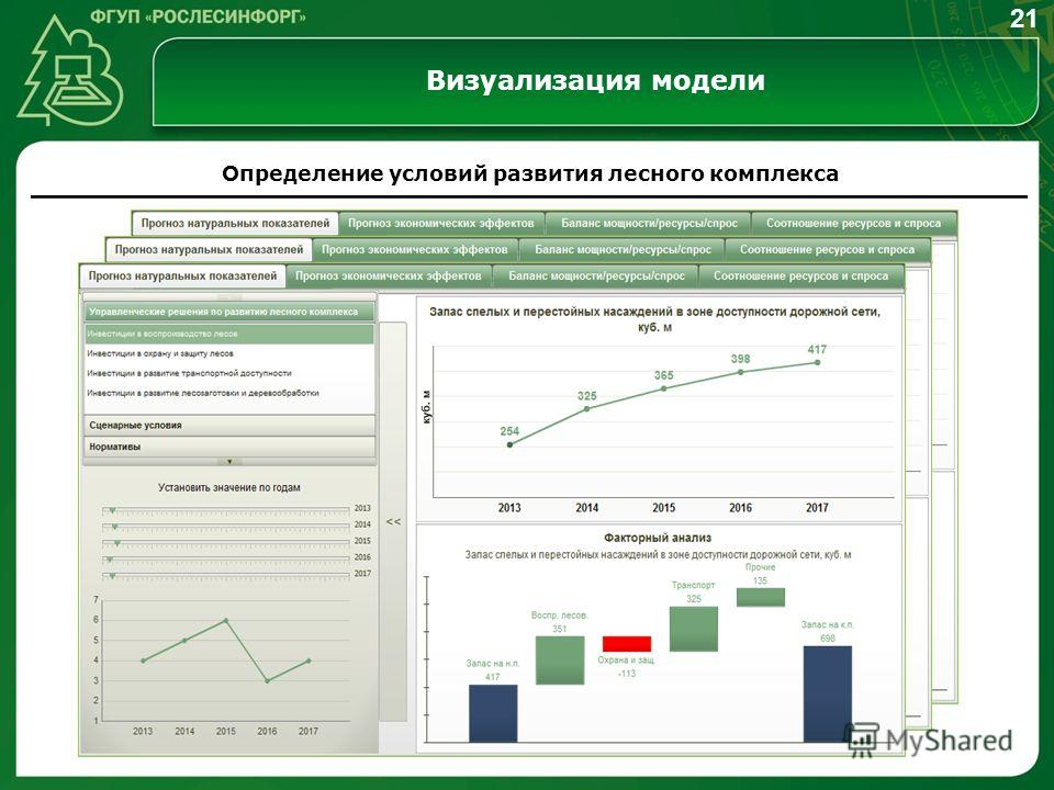 Визуализация модели Определение условий развития лесного комплекса 21