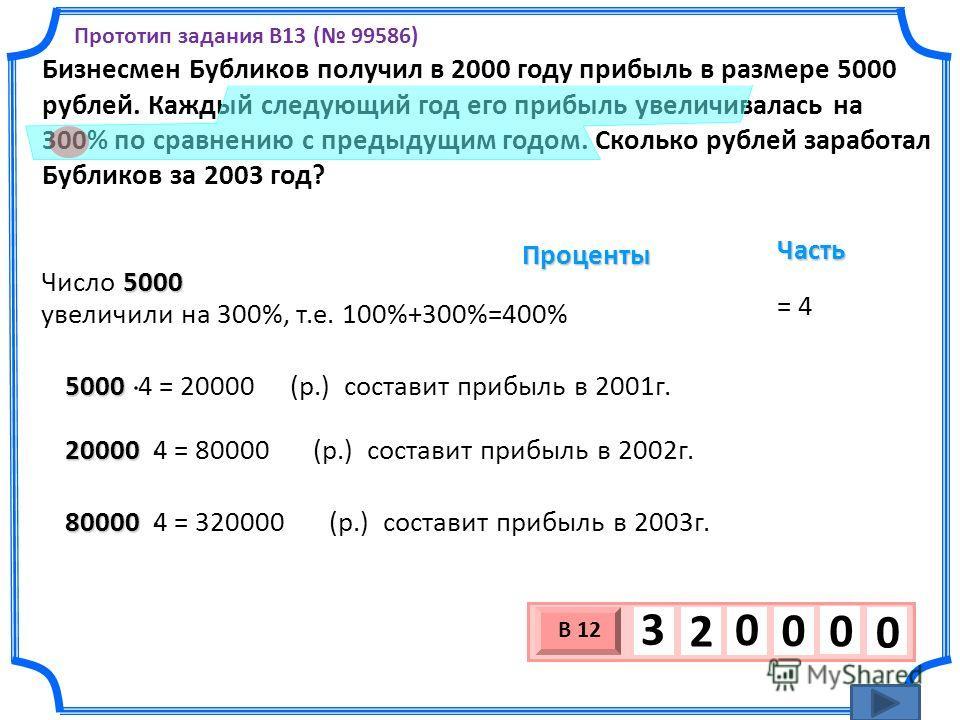 Бизнесмен Бубликов получил в 2000 году прибыль в размере 5000 рублей. Каждый следующий год его прибыль увеличивалась на 300% по сравнению с предыдущим годом. Сколько рублей заработал Бубликов за 2003 год? 3 х 1 0 х В 12 0 0 0 3 2 0 Прототип задания B