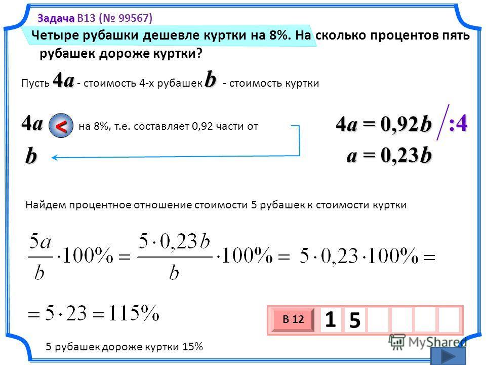 Четыре рубашки дешевле куртки на 8%. На сколько процентов пять рубашек дороже куртки? 3 х 1 0 х В 12 1 5 Задача Задача B13 ( 99567) 4a b Пусть 4a - стоимость 4-х рубашек b - стоимость куртки 4a4a4a4ab на 8%, т.е. составляет 0,92 части от < 4a = 0,92