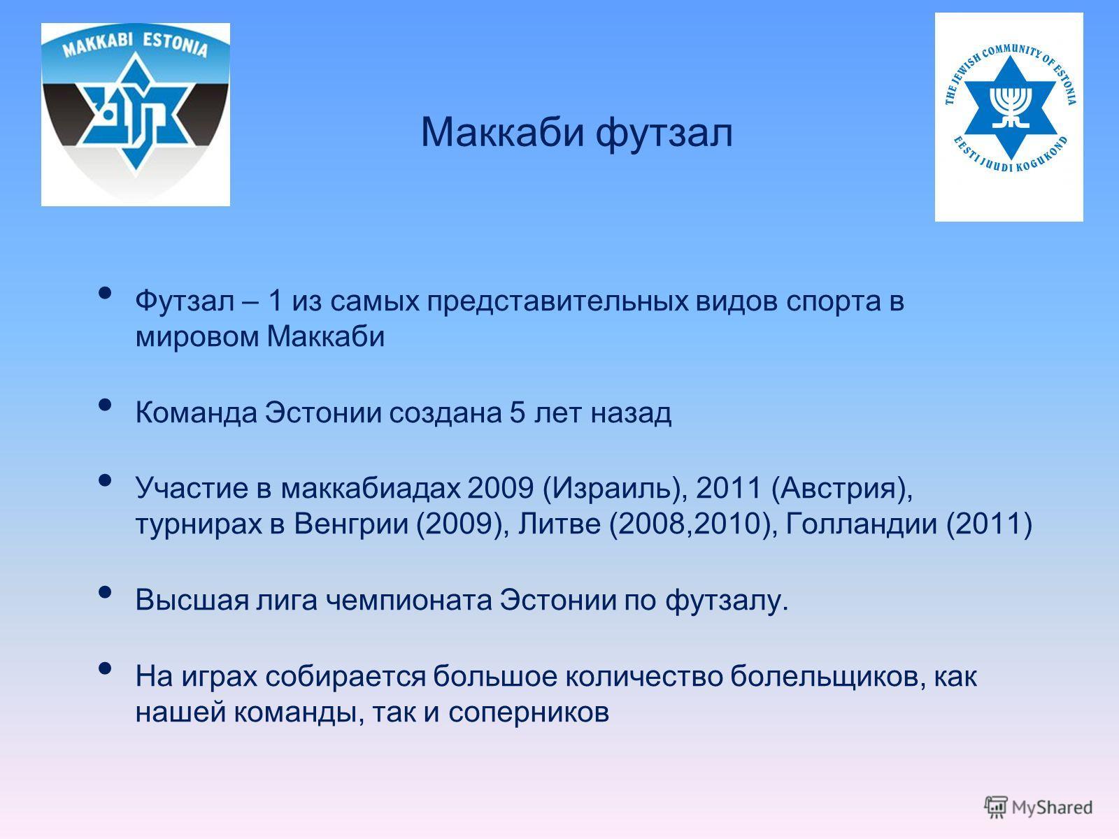 Футзал – 1 из самых представительных видов спорта в мировом Маккаби Команда Эстонии создана 5 лет назад Участие в маккабиадах 2009 (Израиль), 2011 (Австрия), турнирах в Венгрии (2009), Литве (2008,2010), Голландии (2011) Высшая лига чемпионата Эстони