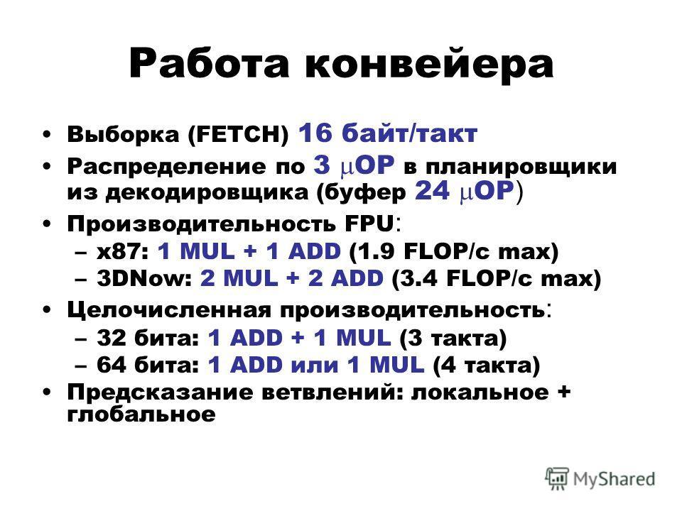Работа конвейера Выборка (FETCH) 16 байт/такт Распределение по 3 OP в планировщики из декодировщика (буфер 24 OP ) Производительность FPU : –x87: 1 MUL + 1 ADD (1.9 FLOP/c max) –3DNow: 2 MUL + 2 ADD (3.4 FLOP/c max) Целочисленная производительность :