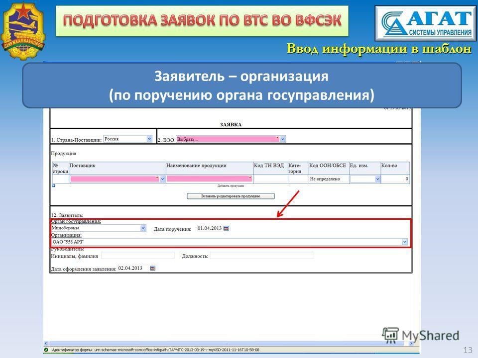 13 Заявитель – организация (по поручению органа госуправления) Ввод информации в шаблон