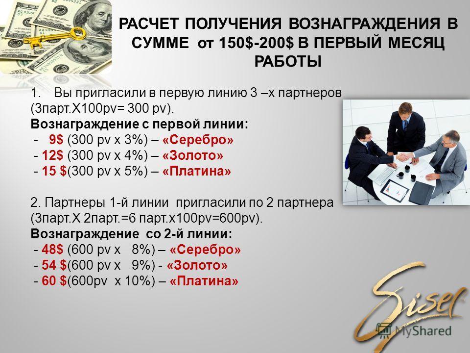РАСЧЕТ ПОЛУЧЕНИЯ ВОЗНАГРАЖДЕНИЯ В СУММЕ от 150$-200$ В ПЕРВЫЙ МЕСЯЦ РАБОТЫ 1.Вы пригласили в первую линию 3 –х партнеров (3парт.Х100pv= 300 pv). Вознаграждение с первой линии: - 9$ (300 pv х 3%) – «Серебро» - 12$ (300 pv х 4%) – «Золото» - 15 $(300 p