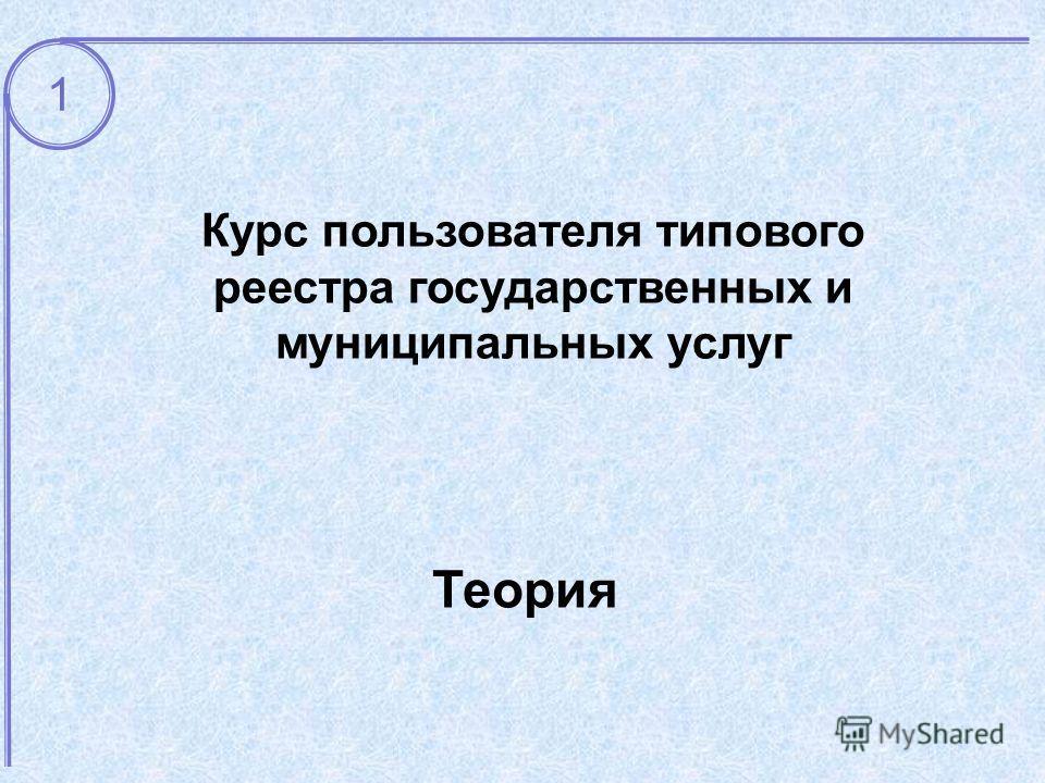 Теория Курс пользователя типового реестра государственных и муниципальных услуг 1