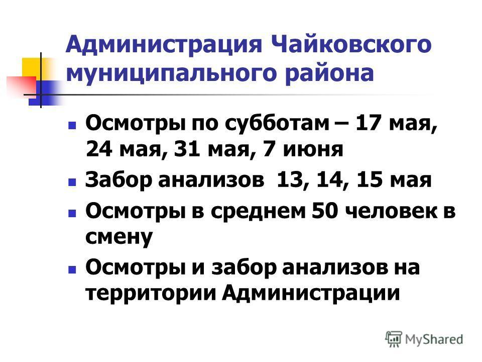 Администрация Чайковского муниципального района Осмотры по субботам – 17 мая, 24 мая, 31 мая, 7 июня Забор анализов 13, 14, 15 мая Осмотры в среднем 50 человек в смену Осмотры и забор анализов на территории Администрации