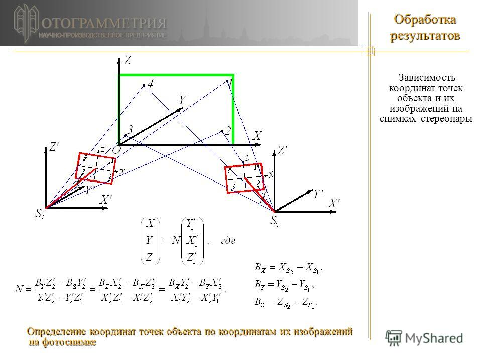 Обработка результатов Зависимость координат точек объекта и их изображений на снимках стереопары Зависимость координат точек объекта и их изображений на снимках стереопары Определение координат точек объекта по координатам их изображений на фотоснимк