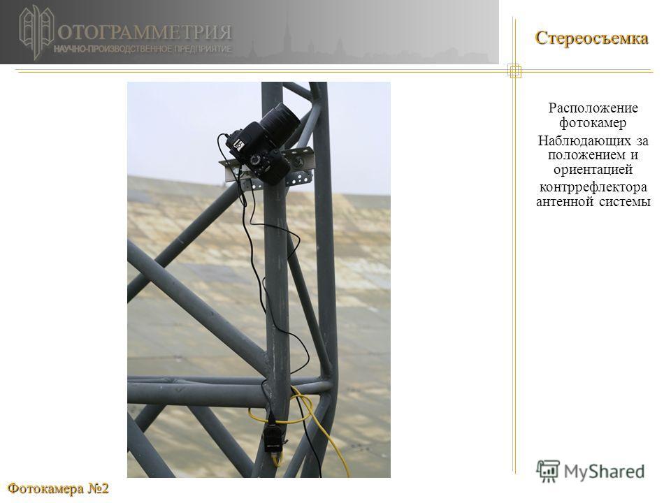 Стереосъемка Расположение фотокамер Наблюдающих за положением и ориентацией контррефлектора антенной системы Фотокамера 2
