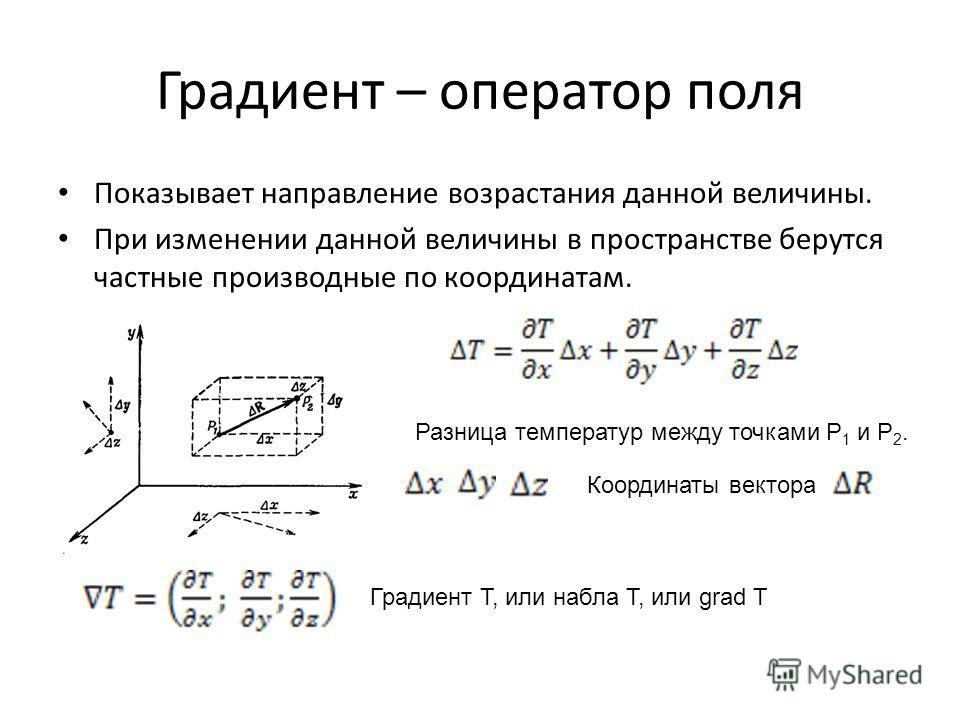 Градиент – оператор поля Показывает направление возрастания данной величины. При изменении данной величины в пространстве берутся частные производные по координатам. Разница температур между точками Р 1 и Р 2. Координаты вектора Градиент Т, или набла