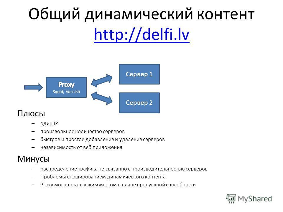 Общий динамический контент http://delfi.lv http://delfi.lv Плюсы – один IP – произвольное количество серверов – быстрое и простое добавление и удаление серверов – независимость от веб приложения Минусы – распределение трафика не связанно с производит