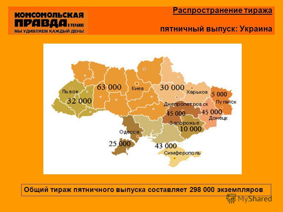 Распространение тиража пятничный выпуск: Украина Общий тираж пятничного выпуска составляет 298 000 экземпляров