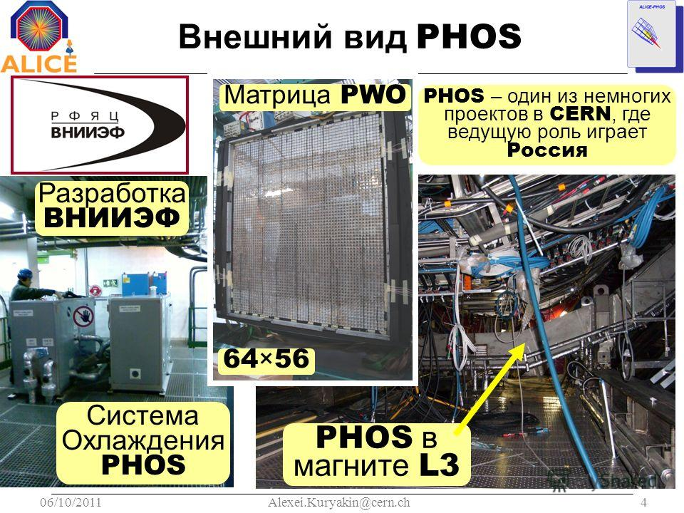 06/10/20114Alexei.Kuryakin@cern.ch Внешний вид PHOS Система Охлаждения PHOS Разработка ВНИИЭФ PHOS в магните L3 PHOS – один из немногих проектов в CERN, где ведущую роль играет Россия Матрица PWO 64×56