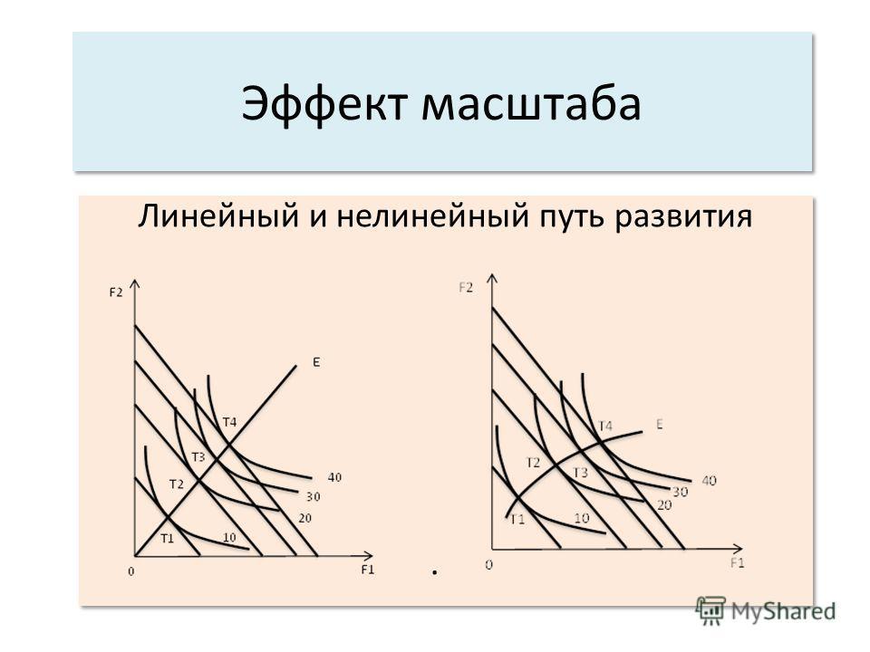 Эффект масштаба Линейный и нелинейный путь развития. Линейный и нелинейный путь развития.