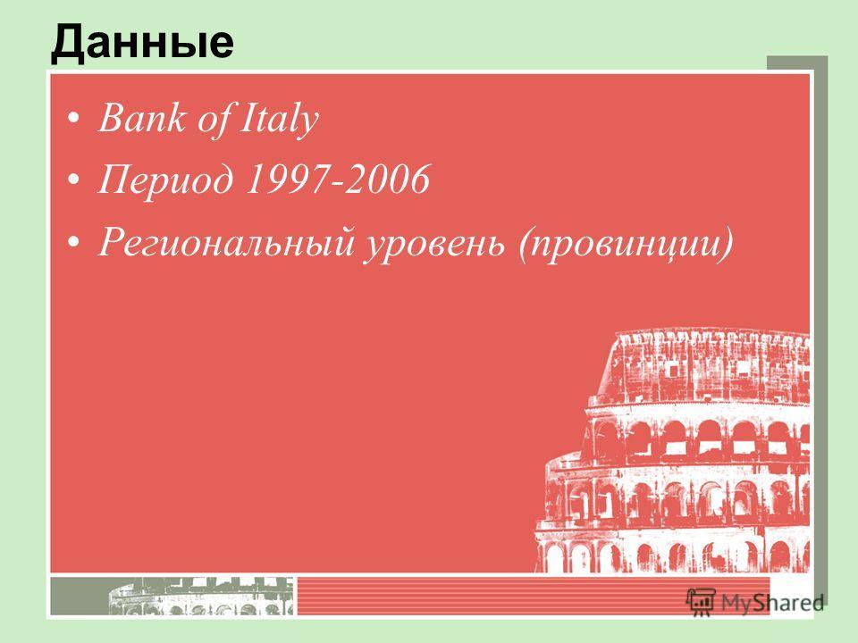 Данные Bank of Italy Период 1997-2006 Региональный уровень (провинции)
