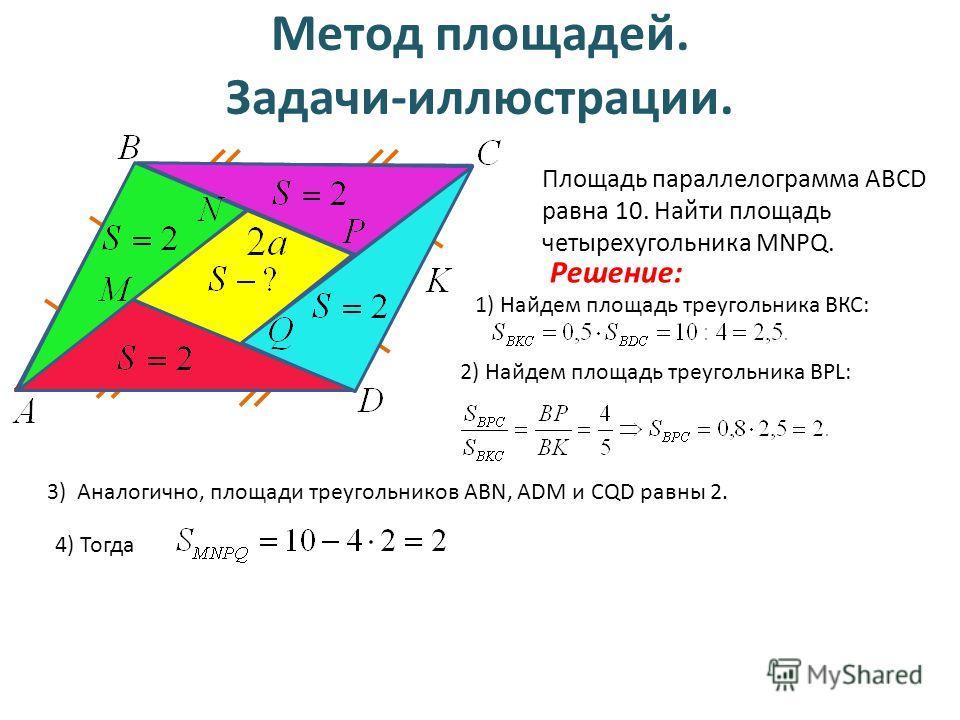 Метод площадей. Задачи-иллюстрации. Площадь параллелограмма ABCD равна 10. Найти площадь четырехугольника MNPQ. Решение: 1) Найдем площадь треугольника ВКС: 2) Найдем площадь треугольника BPL: 3) Аналогично, площади треугольников ABN, ADM и CQD равны