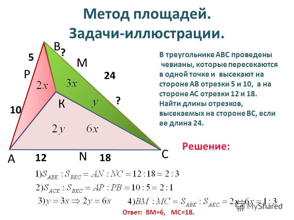 Метод площадей. Задачи-иллюстрации. А В С N P M 1218 10 5 24 ? ? В треугольнике АВС проведены чевианы, которые пересекаются в одной точке и высекают на стороне АВ отрезки 5 и 10, а на стороне АС отрезки 12 и 18. Найти длины отрезков, высекаемых на ст