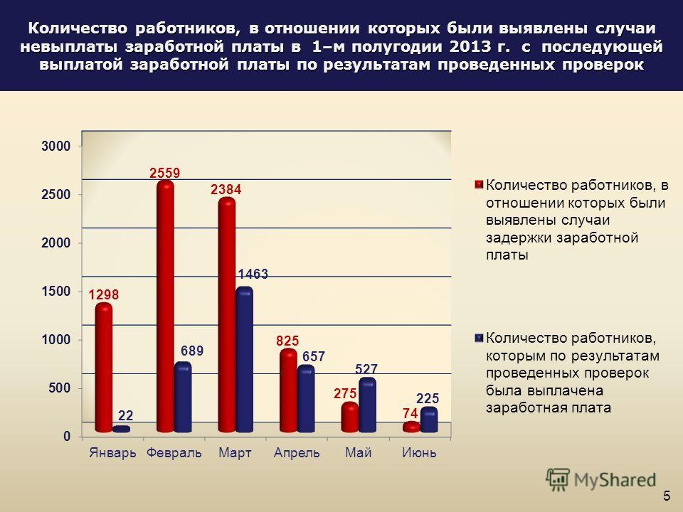 Количество работников, в отношении которых были выявлены случаи невыплаты заработной платы в 1–м полугодии 2013 г. с последующей выплатой заработной платы по результатам проведенных проверок 5