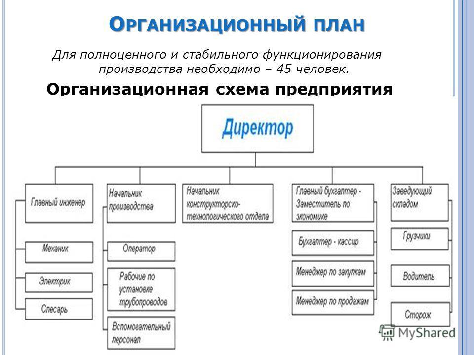 О РГАНИЗАЦИОННЫЙ ПЛАН Для полноценного и стабильного функционирования производства необходимо – 45 человек. Организационная схема предприятия