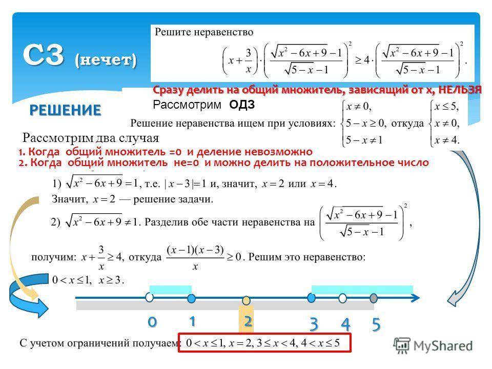 РЕШЕНИЕ С3 (нечет) Рассмотрим два случая 0 1 3 54 2 Сразу делить на общий множитель, зависящий от х, НЕЛЬЗЯ Рассмотрим ОДЗ 1. Когда общий множитель =0 и деление невозможно 2. Когда общий множитель не=0 и можно делить на положительное число