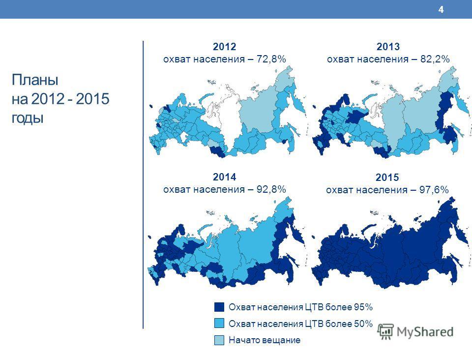 Планы на 2012 - 2015 годы 4 2012 охват населения – 72,8% 2013 охват населения – 82,2% 2014 охват населения – 92,8% 2015 охват населения – 97,6% Охват населения ЦТВ более 95% Охват населения ЦТВ более 50% Начато вещание