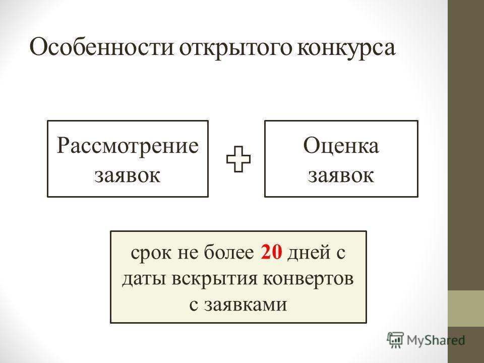 Особенности открытого конкурса Рассмотрение заявок Оценка заявок срок не более 20 дней с даты вскрытия конвертов с заявками