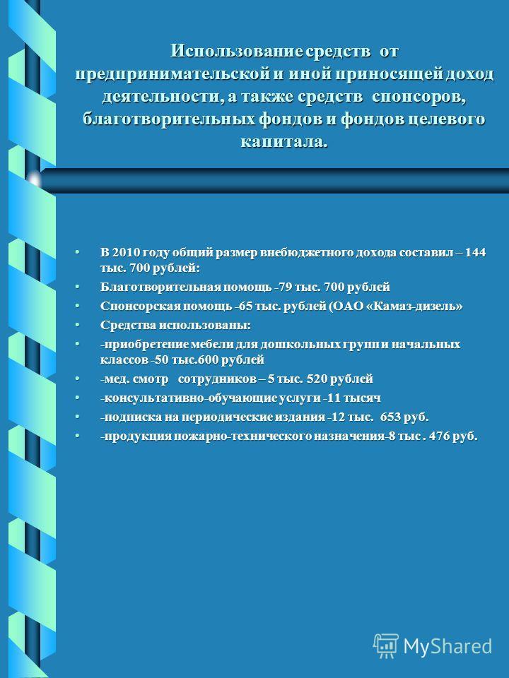 Использование средств от предпринимательской и иной приносящей доход деятельности, а также средств спонсоров, благотворительных фондов и фондов целевого капитала. В 2010 году общий размер внебюджетного дохода составил – 144 тыс. 700 рублей:В 2010 год