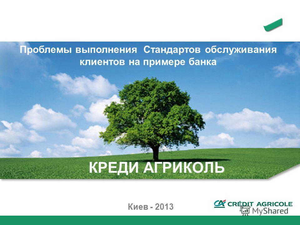 Киев - 2013 КРЕДИ АГРИКОЛЬ Проблемы выполнения Стандартов обслуживания клиентов на примере банка