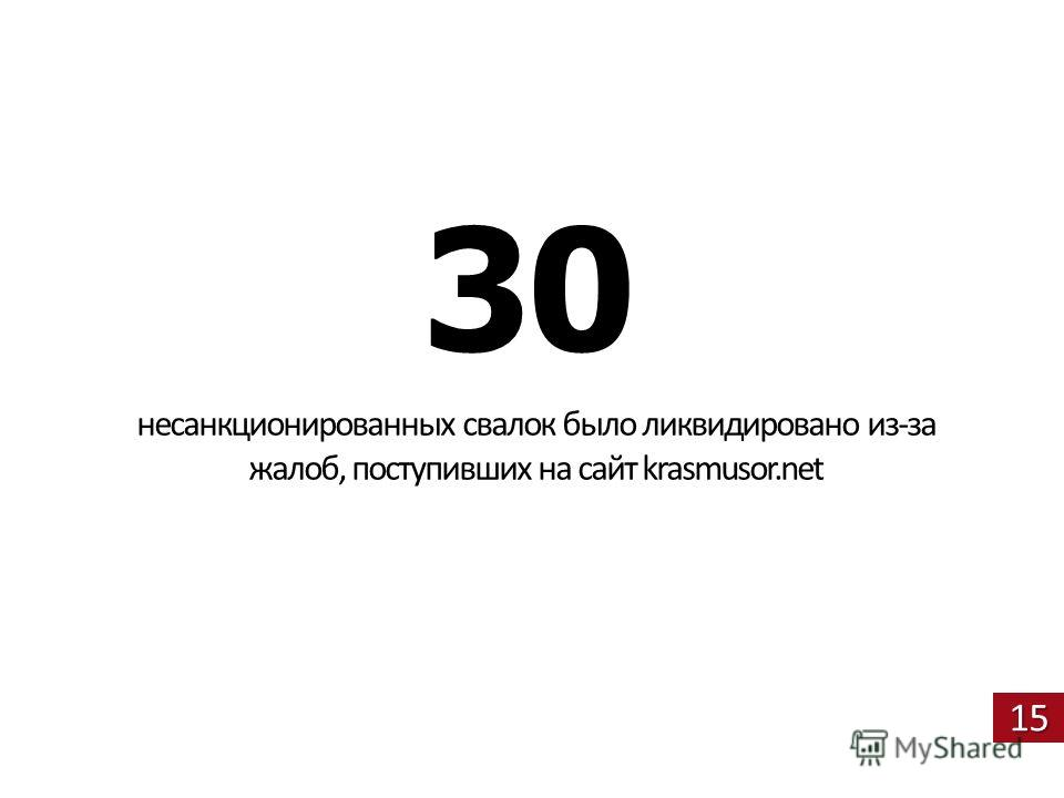 15 30 несанкционированных свалок было ликвидировано из-за жалоб, поступивших на сайт krasmusor.net