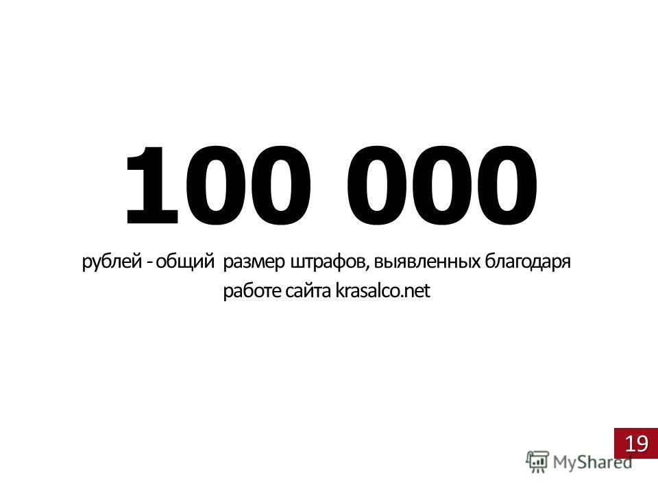 19 100 000 рублей - общий размер штрафов, выявленных благодаря работе сайта krasalco.net