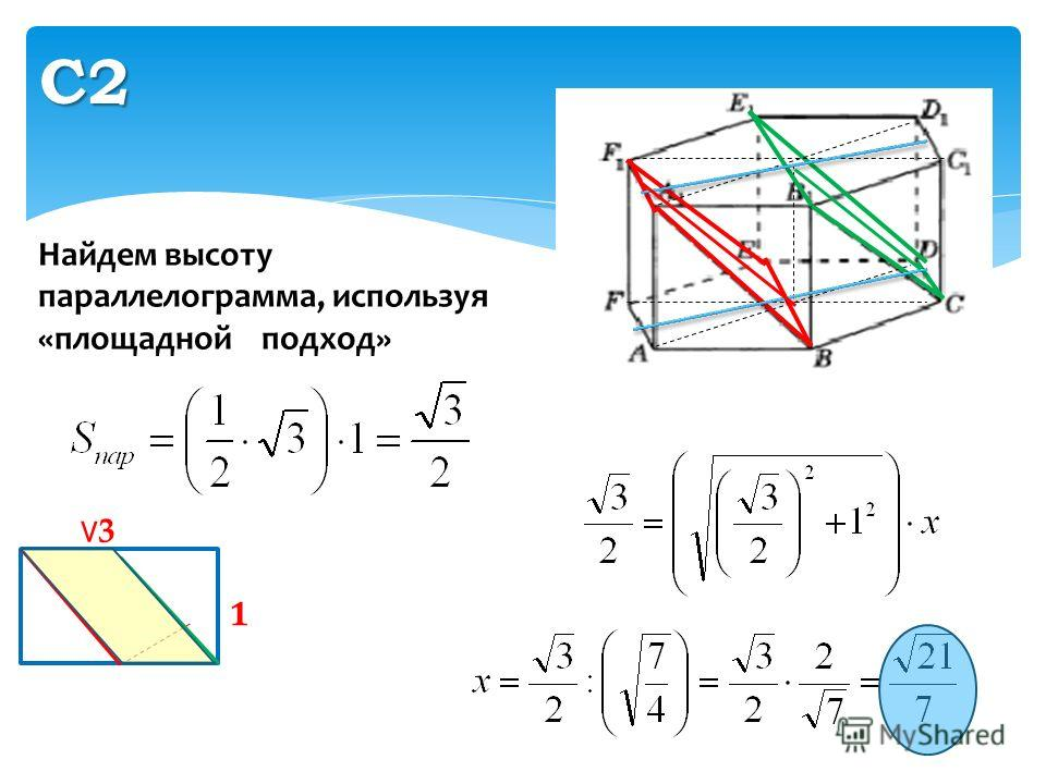 С2 3 1 Найдем высоту параллелограмма, используя «площадной подход»