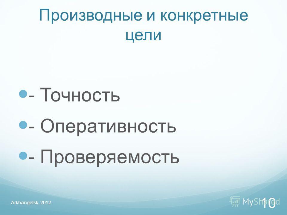 Производные и конкретные цели - Точность - Оперативность - Проверяемость Arkhangelsk, 2012 10