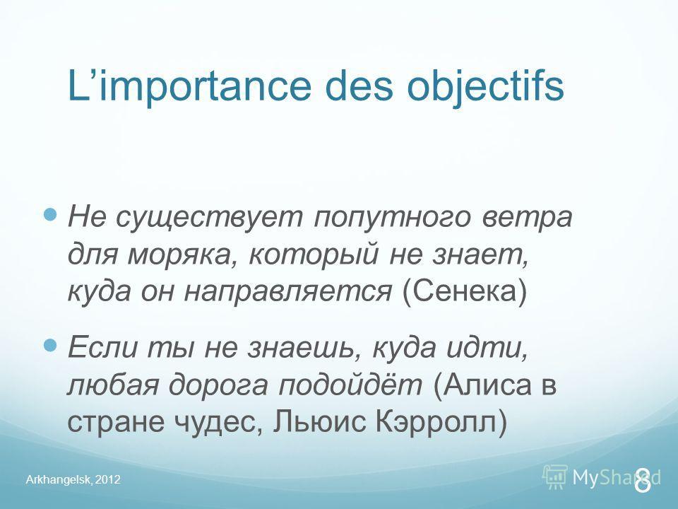 Limportance des objectifs Не существует попутного ветра для моряка, который не знает, куда он направляется (Сенека) Если ты не знаешь, куда идти, любая дорога подойдёт (Алиса в стране чудес, Льюис Кэрролл) Arkhangelsk, 2012 8