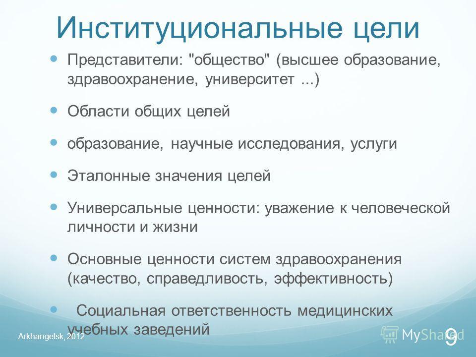 Институциональные цели Представители: