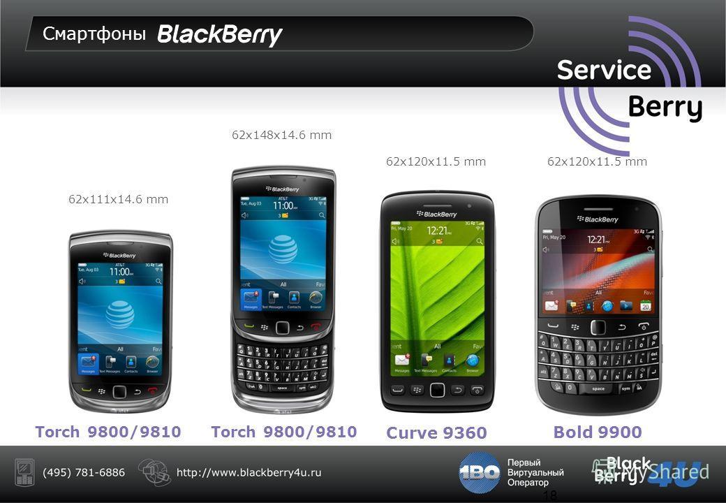 17 Смартфоны Curve 9320Curve 9220Curve 9360 Bold 9790 60x109x12.7 mm 60x110x11.4 mm60x109x11 mm
