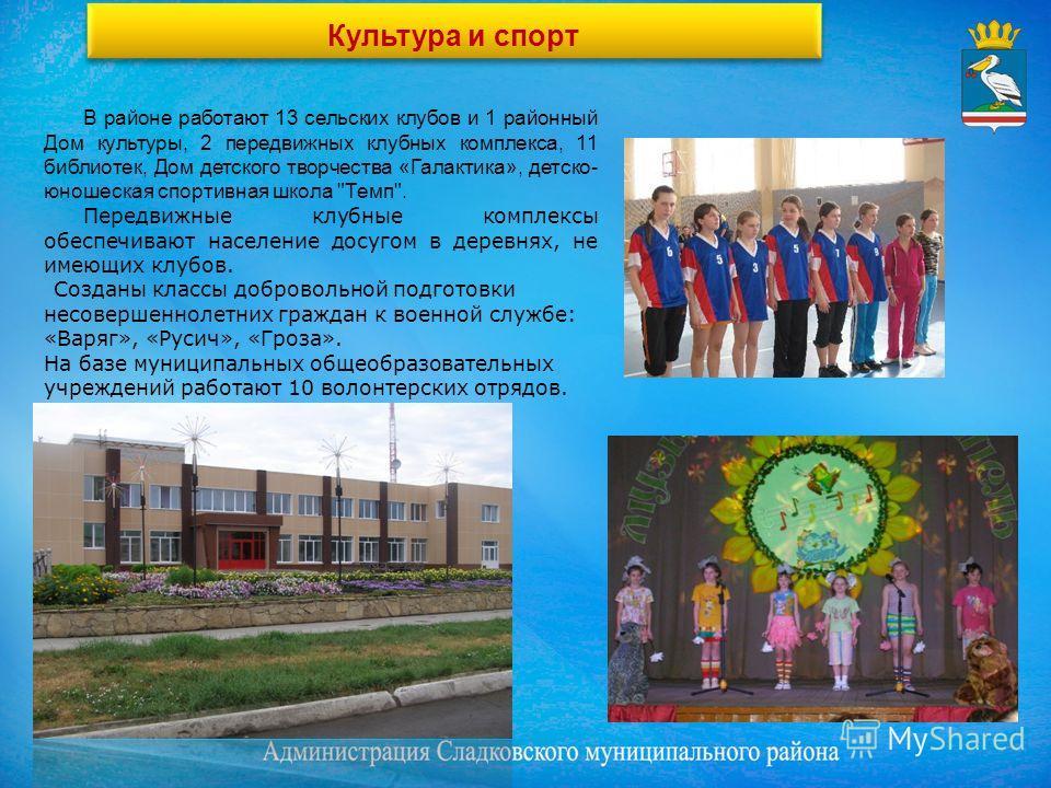 Культура и спорт В районе работают 13 сельских клубов и 1 районный Дом культуры, 2 передвижных клубных комплекса, 11 библиотек, Дом детского творчества «Галактика», детско- юношеская спортивная школа