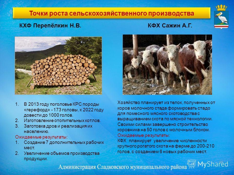 Точки роста сельскохозяйственного производства КФХ Сажин А.Г. Хозяйство планирует из телок, полученных от коров молочного стада формировать стадо для помесного мясного скотоводства с выращиванием скота по мясной технологии. Своими силами завершено ст