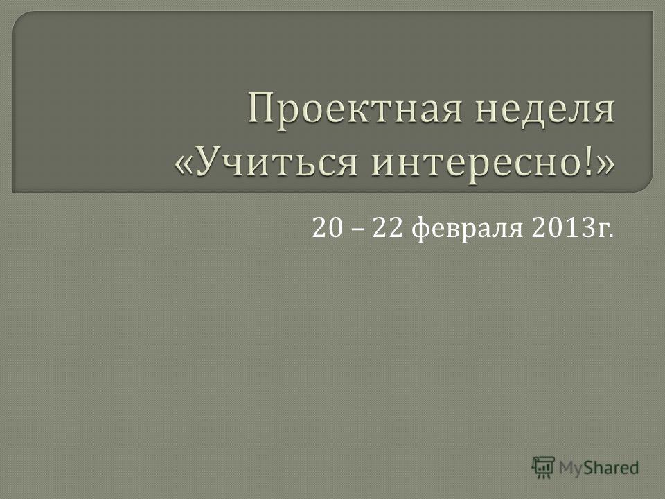 20 – 22 февраля 2013 г.