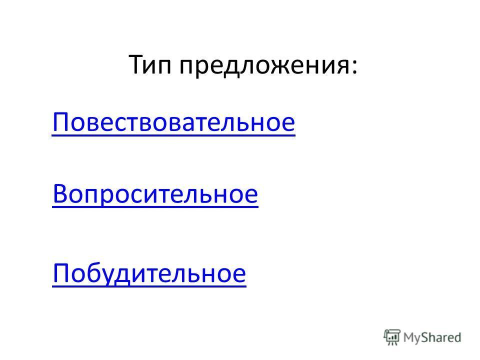 Тип предложения: Повествовательное Вопросительное Побудительное