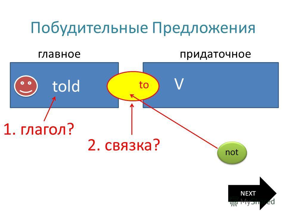 Побудительные Предложения главное глаголtold придаточное V связка to 1. глагол? 2. связка? NEXT not