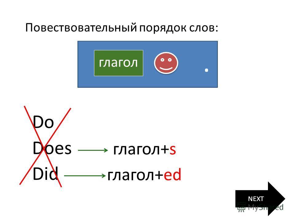 глагол Вопросительный порядок слов: глагол Do Does Did NEXT глагол+s глагол+ed ? Повествовательный порядок слов:.