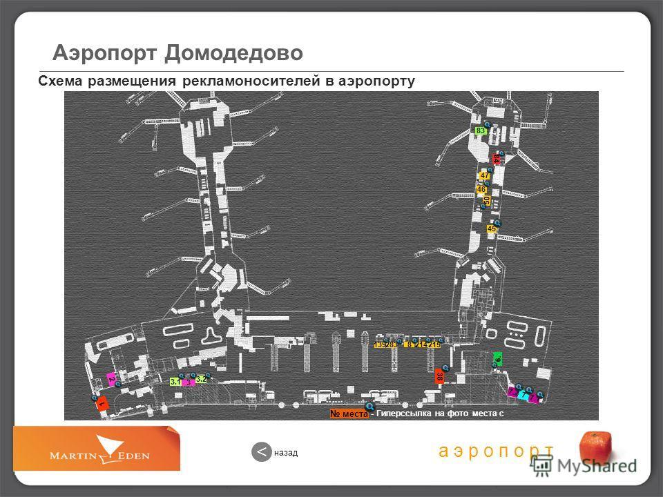 Схема размещения рекламоносителей в аэропорту назад < а э р о п о р т Аэропорт Домодедово места - Гиперссылка на фото места с рекламоносителем 3.2 2 83 45 46 8214 215 3 7 6. 38 283 139 3.1 1 47 50 84 7.2 7.1