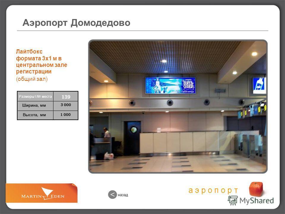 а э р о п о р т 1 000 3 000 139 Размеры \ места Ширина, мм Высота, мм назад < Аэропорт Домодедово Лайтбокс формата 3х1 м в центральном зале регистрации (общий зал)