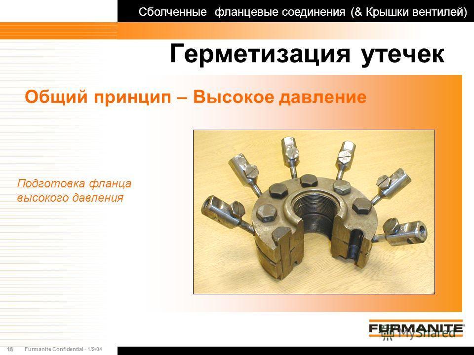 15Furmanite Confidential - 1/9/04 Герметизация утечек Общий принцип – Высокое давление Подготовка фланца высокого давления Сболченные фланцевые соединения (& Крышки вентилей)